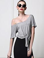 Tee-shirt Femme,Couleur Pleine Décontracté / Quotidien simple Eté Manches Courtes Col en U Noir / Gris Coton Opaque