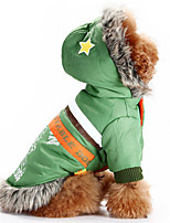 Dog Hoodie Red / Green Dog Clothes Winter / Spring/Fall Letter & Number Casual/Daily / Windproof / Keep Warm