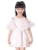Girl's Going out Solid Dress,Cotton / Others Summer White
