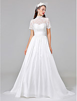 Lanting Bride® Ball Gown Wedding Dress Court Train High Neck Lace / Taffeta with Ruche / Sash / Ribbon