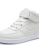 Girl's Sneakers Spring Summer Fall Winter Comfort PU Outdoor Casual Athletic Flat Heel Hook & Loop Black White