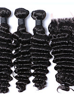 3Pcs/Lot 12-26 Malaysia Virgin Hair Weft Deep Curly With 1Pcs Lace Closure Natural Black Hair Weaves