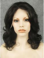 imstyle 16''natural regardant noirs bouclés perruque synthétique de dentelle avant de dentelle colorable