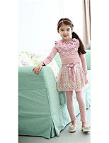 Girl's Casual/Daily Solid DressCotton Spring / Fall Pink