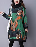 Women's Casual/Daily Cute / Chinoiserie Long Hoodies,Print Red / Green Turtleneck Long Sleeve Cotton Fall / Winter Medium Micro-elastic