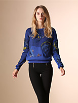 AOKNI Women's Round Neck Long Sleeve Sweater & Cardigan Blue / White / Green-6008