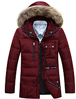 Men's Regular Down Coat,Simple Casual/Daily Solid-Polyester White Duck Down Long Sleeve Red / Black