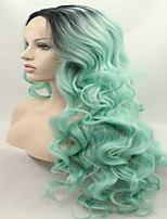 Sylvia Synthetic Lace front Wig Black Roots Green Hair Ombre Hair Heat Resistant Long Wavy Synthetic Wigs