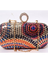 Women Plastic / Satin Formal / Event/Party / Wedding Evening Bag Colorful Beads Printing Diamonds Small Purse Vintage