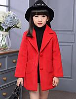 Mädchen Jacke & Mantel-Lässig/Alltäglich einfarbig Wolle / Polyester Winter Rosa / Rot