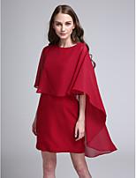 Lanting Bride® קצר \ מיני שיפון שמלה לשושבינה - אלגנטי מעטפת \ עמוד עם תכשיטים עם קפלים