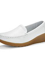Черный Белый-Женский-Повседневный-Кожа-На плоской подошве-Удобная обувь-Мокасины и Свитер