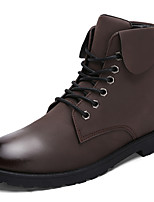 Men's Boots Casual Leather Boots Comfort Synthetic Casual Flat Heel Lace-up Black /Blue/ Brown