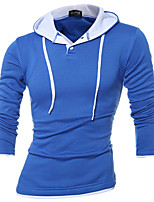Men's Plus Size / Casual/Daily / Sports Simple / Active Regular Hoodies,Color Block Blue / Red / Black / Gray Hooded Long Sleeve Cotton