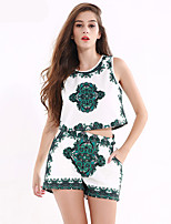 1287 Women's Going out / Casual/Daily Vintage Summer Tank Top PantPrint Round Neck Sleeveless White Cotton