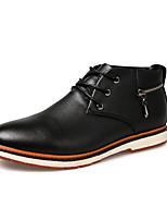 Черный Коричневый Красный-Мужской-Повседневный-Полиуретан-На плоской подошве-Удобная обувь-Туфли на шнуровке