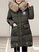 Women's Regular Padded CoatStreet chic Plus Size / Going out Embroidered / Black / Gray /Army Green/Red.