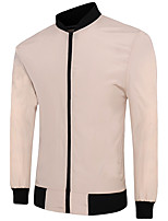 Men's Going out / Casual/Daily Simple JacketsSolid Stand Long Sleeve Spring e Polyester Thin
