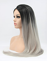 Sylvia Synthetic Lace front Wig Black Roots Grey Hair Ombre Hair Heat Resistant Long Straight Hair Synthetic Wigs
