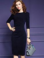 Feminino Bandagem Vestido,Casual Simples Sólido Decote Redondo Médio Meia Manga Azul Poliéster Outono / Inverno Cintura Média