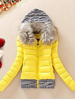 Women's Short Padded CoatSimple Casual/Daily Solid-Cotton / Polyester Polypropylene Long Sleeve HoodedBlue /