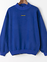 Women's Casual/Daily Simple Regular HoodiesLetter Blue / Black / Gray Round Neck Long