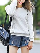 Women's Going out Cute Regular Hoodies,Print Black Round Neck Long Sleeve Polyester Fall Medium Micro-elastic