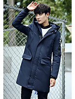 Men's Going out Simple Coat,Solid Long Sleeve Blue / Black / Brown / Gray Polyester