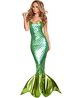 Cosplay Costumes Mermaid Tail Fairytale Movie Cosplay Blue Solid Dress Halloween Carnival Female Polyester