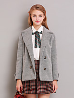 Women's Going out Simple Coat,Solid Notch Lapel Long Sleeve Winter Gray Wool Medium