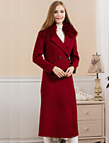 GATHER BEAUTYWomen's Going out Simple CoatPatchwork Notch Lapel Long Sleeve Winter Blue / Red / Brown Wool / Polyester Thick