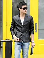 Мужчины Большие размеры Однотонный Кожаные куртки Рубашечный воротник,Уличный стиль Осень Красный / Черный / Коричневый Длинный рукав,