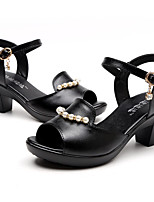 Women's Sandals Summer Comfort Leather Casual Chunky Heel Pearl Buckle Black Others