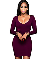 Women's Casual/Daily Simple Bodycon DressSolid Slim Round Neck Mini Long Sleeve Mid Rise Micro-elastic Medium