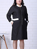 Women's Plus Size / Going out Simple Sheath DressStriped V Neck Knee-length Long Sleeve Black / Winter Mid Rise