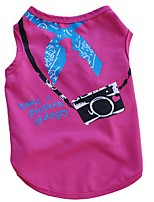 Chat Chien Tee-shirt Vêtements pour Chien Eté Printemps/Automne Lettre et chiffre Décontracté / Quotidien Jaune Rouge Rose Bleu