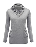 Women's Casual/Daily / Sports Simple / Street chic Regular HoodiesSolid Red / Black / Gray Turtleneck Long Sleeve
