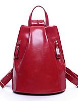 Women PU Casual Backpack Red