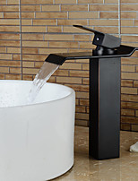 Contemporary Heightening Oil-rubbed Bronze Waterfall Bathroom Sink Faucets