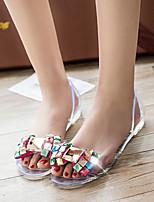 Белый / Цвета шампанского / Серый-Женский-На каждый день-Дерматин-На плоской подошве-Удобная обувь-Сандалии