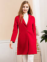 Women's Going out Simple Coat,Solid Notch Lapel Long Sleeve Winter Blue / Pink / Red Wool Thick