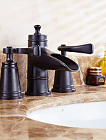 Antique Widespread Ceramic Valve Two Handles Three Holes with Oil-rubbed Bronze Bathroom Sink Faucet