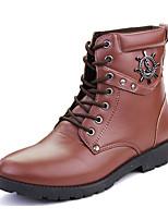 Men's Boots Winter Comfort PU Casual Flat Heel Lace-up Black Brown