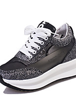 Women's Sneakers Spring Summer Fall Winter Other Leatherette Outdoor Casual Athletic Wedge Heel Lace-up Black Silver