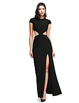 2017 TS Couture® Formal Evening Dress Sheath / Column Jewel Ankle-length Jersey with Buttons / Split Front