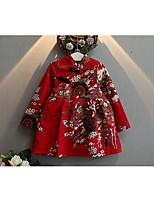 Vestido Chica de-Casual/Diario-Floral-Algodón-Primavera / Otoño-Rojo