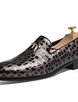 Черный / Серый / Бордовый-Мужской-На каждый день-Кожа-На плоской подошве-Удобная обувь-Мокасины и Свитер