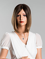 Fashionable Medium Straight Capless Wigs High Quality Human Hair Mixed Color