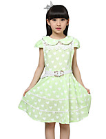 Girl's Casual/Daily Print Dress,Cotton / Others Summer Blue / Green / Pink