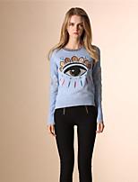 AOKNI Women's Round Neck Long Sleeve Sweater & Cardigan Blue / Black / White-6010